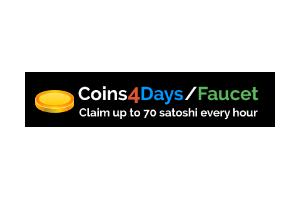 Coins4Days Faucet: claim up to 70 satoshi every 60 minutes!